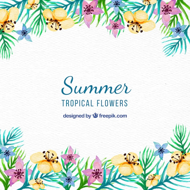 Pretty vintage watercolor flowers background for summer Free Vector