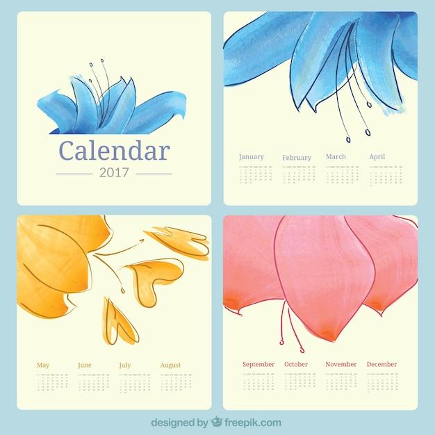 Pretty watercolor flowers 2017 calendar Free Vector