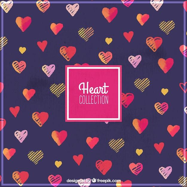 Pretty watercolor hearts background Free Vector