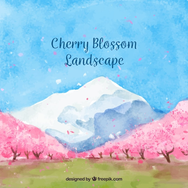 Pretty watercolor landscape with cherry trees Free Vector