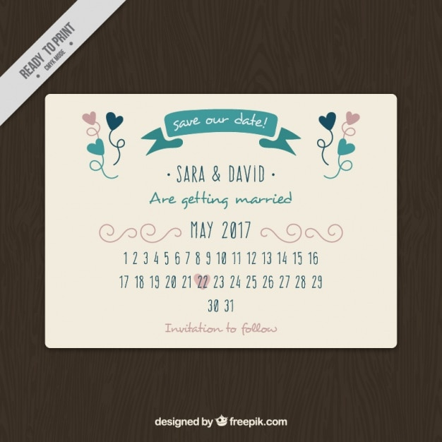 Pretty Wedding Card With Calendar Vector Free Download