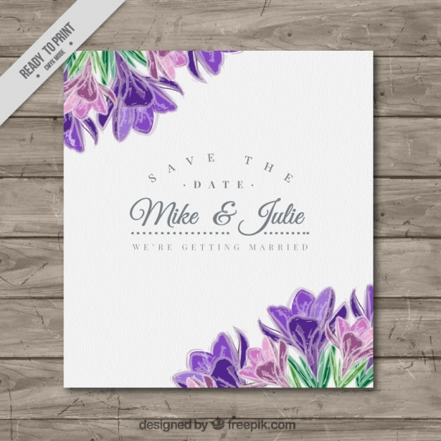 Pretty wedding card with purple flowers\ detail