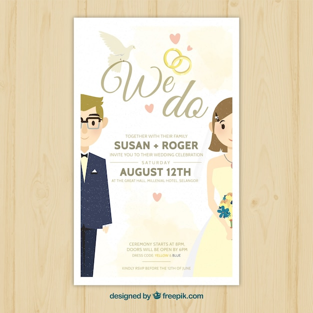 Pretty wedding invitation with newlyweds Vector Free Download