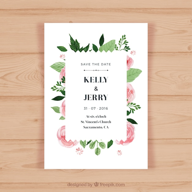 Flower Svg Library Download For Wedding Invitations: Pretty Wedding Invitation With Pink Flowers Vector