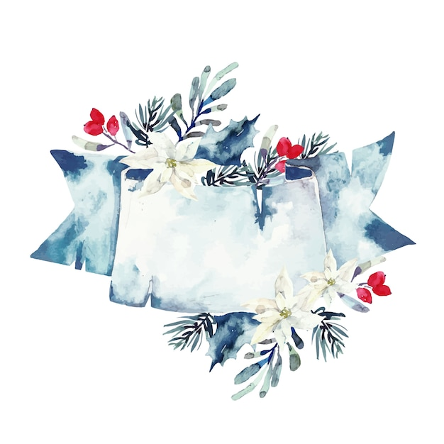 Pretty winter flowers with empty banner Free Vector