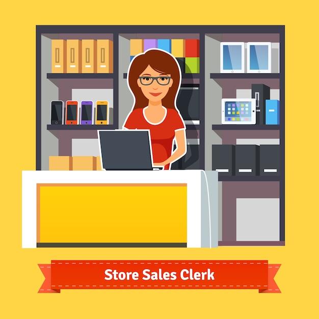 Pretty woman shop assistant
