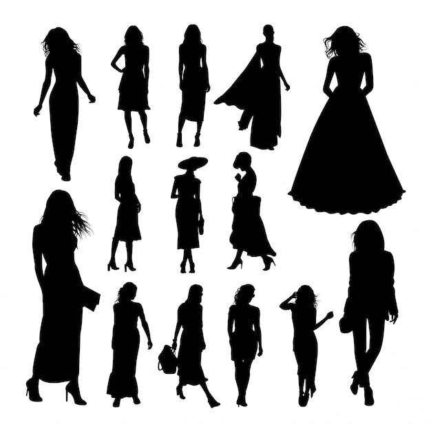 Pretty woman silhouettes. Premium Vector