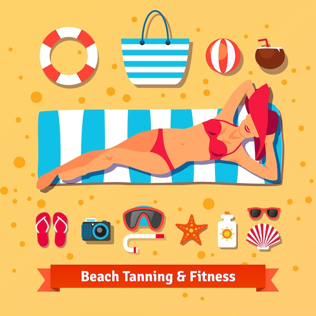 Pretty woman tanning on the beach. sea vacation Free Vector