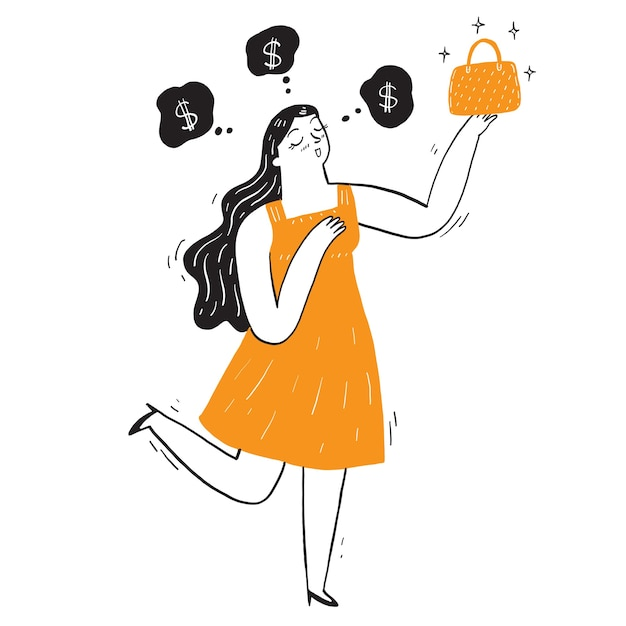 Pretty woman with her new bag with a bubble dreaming of money. Premium Vector