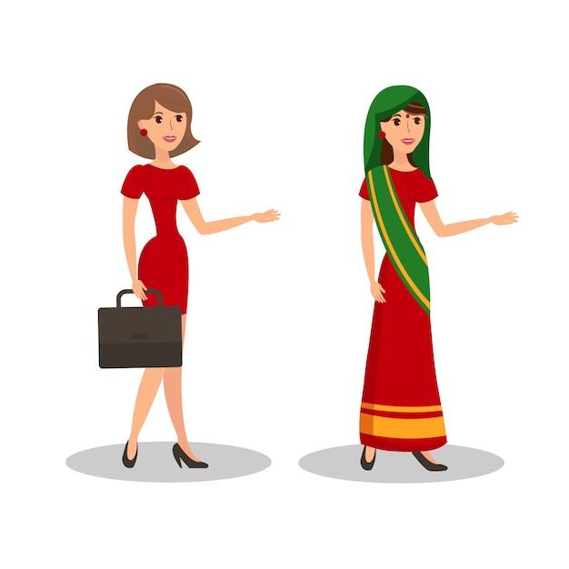 Pretty women in dresses flat color illustration Premium Vector