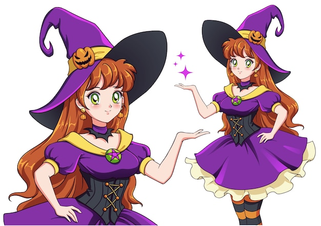 Pretty young witch. announce halloween party. hand drawn retro anime girl with red hair and green eyes. illustration Premium Vector