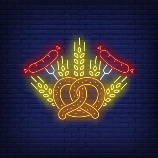 Pretzel, sausages and barley ears neon sign Free Vector