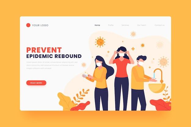 Шаблон целевой страницы предотвращения эпидемического отскока Бесплатные векторы