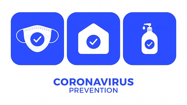 Prevention of covid-19 all in one icon illustration.  stay at home, use face mask, use hand sanitizer Premium Vector