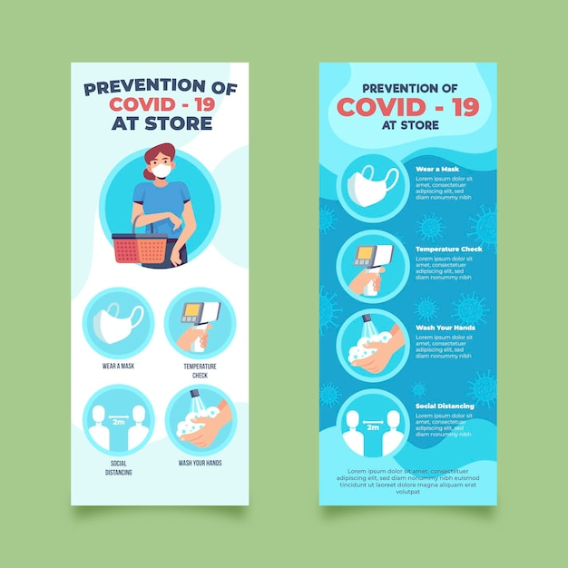 Prevention covid-19 at store banners design template Free Vector