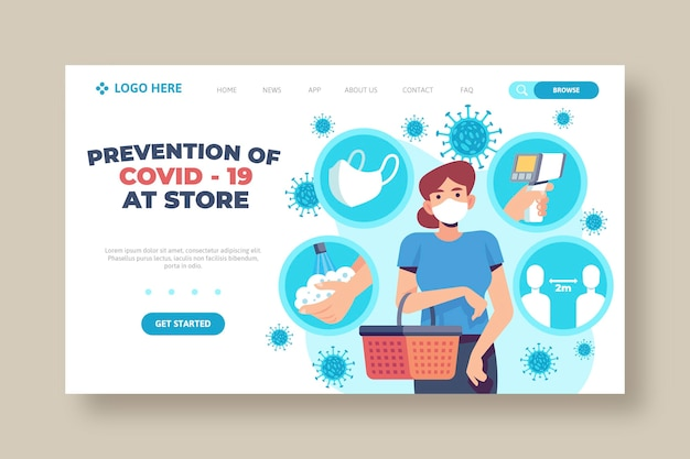 Prevention covid-19 at store landing page template Premium Vector