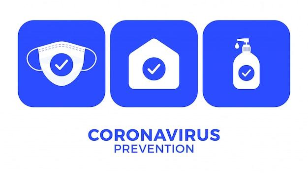 Профилактика covid-19 - все в одной иконке. оставайтесь дома, используйте маску для лица, используйте дезинфицирующее средство для рук Premium векторы