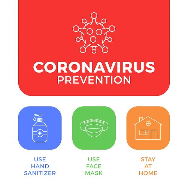 Профилактика covid-19 все в одном значок плаката иллюстрации. листовка защиты от коронавируса с наброски значок набор. оставайтесь дома, используйте маску для лица, используйте дезинфицирующее средство для рук Premium векторы