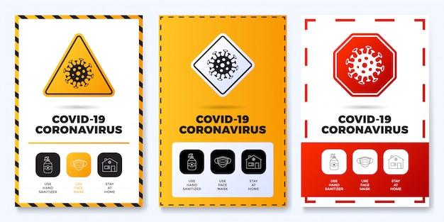 Covid-19防止オールインワンアイコンポスターセットイラスト。概要アイコンセットと道路警告標識のコロナウイルス保護チラシ。家にいる、フェイスマスクを使う、手の消毒剤を使う Premiumベクター