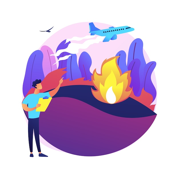 Prevention of wildfire abstract concept   illustration. forest and grass fire, conflagration safety engineering, wildfire prevention, firefighting service, save wildlife Free Vector