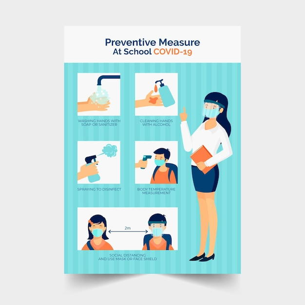 Preventive measures at school poster Free Vector