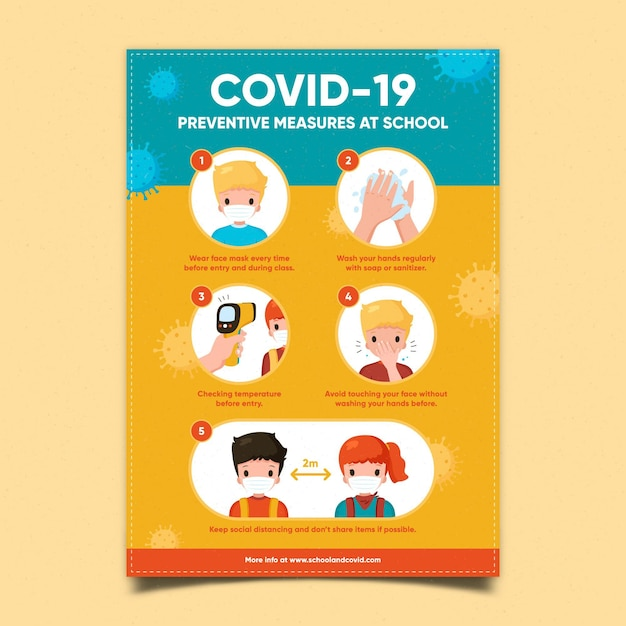 Preventive measures at school - poster Premium Vector