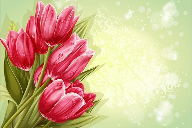 あなたのテキストのピンクのチューリップの背景の花束をプレビュー Premiumベクター
