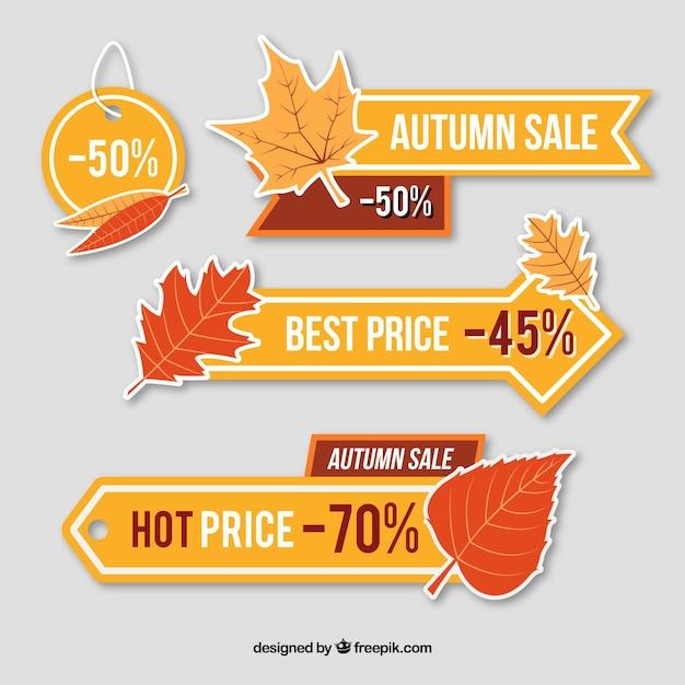 Ценовые баннеры для осени Premium векторы