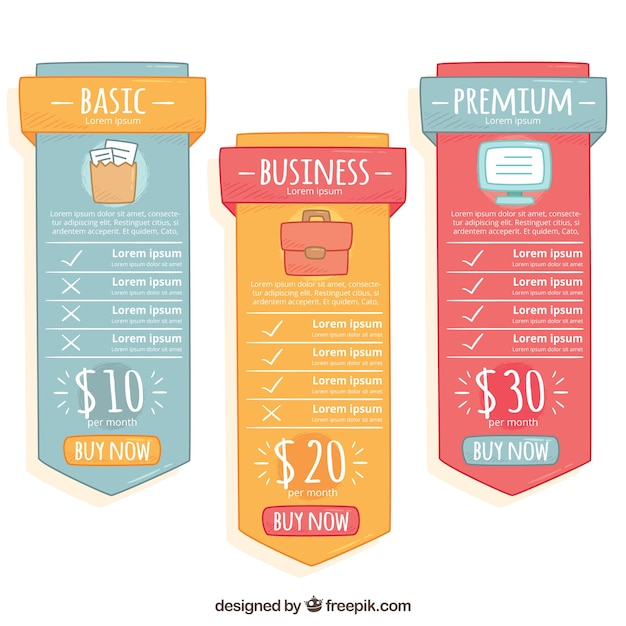 Price banners with different plans Vector | Free Download