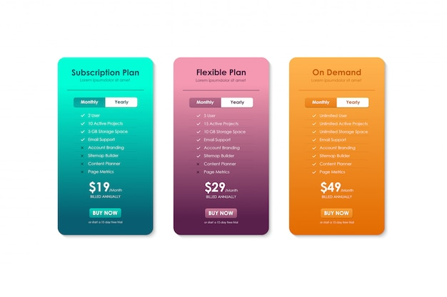 Price comparison table, pricing table template for website ...