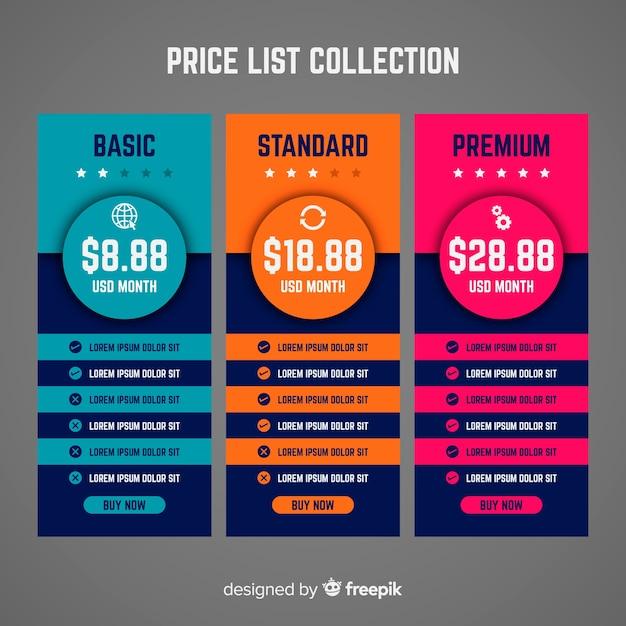 Price list collectio Free Vector