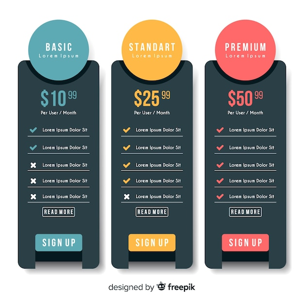 Price list collection Vector | Free Download