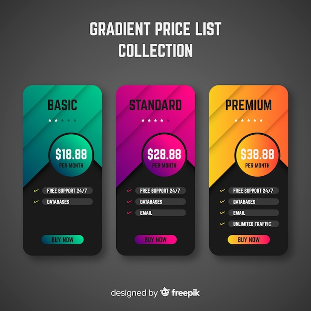 Price list collection Free Vector
