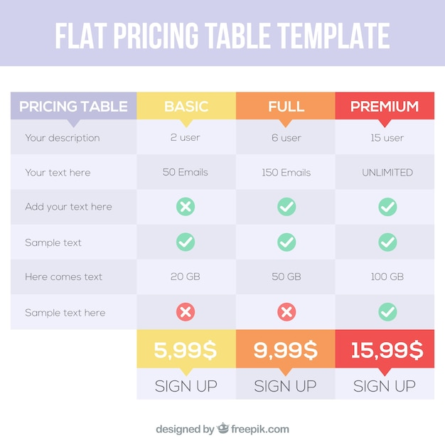 Price table template in flat design Vector | Free Download