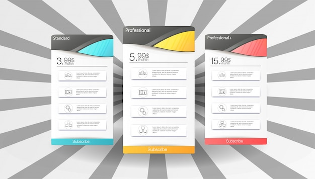 Price table template set with 3 options Premium Vector