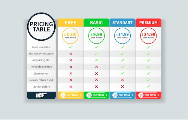 Price table template with five plan design for website ...