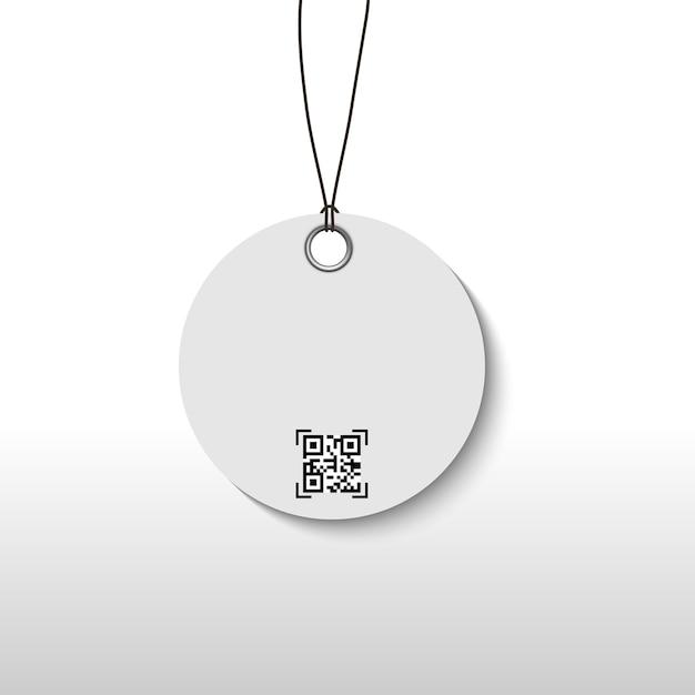 パッケージ製品のqrスキャンコード付きの値札。 Premiumベクター