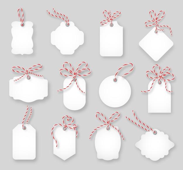 Ценники и подарочные карты, перевязанные бантами из шпагата. этикеточная бумага, продажа дизайн, узел тринг, векторные иллюстрации Бесплатные векторы