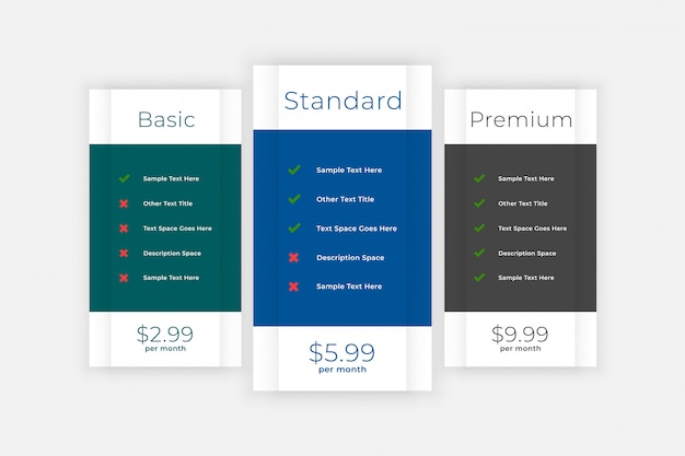 Pricing table comparison box for website and app Free Vector
