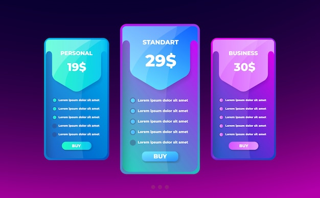 Pricing table concept. Premium Vector
