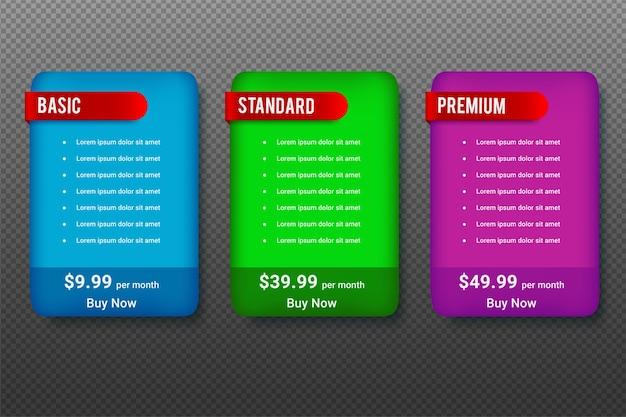 ビジネスのための価格表のデザイン 無料ベクター