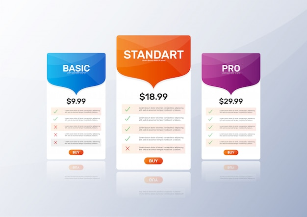Pricing table template set Premium Vector