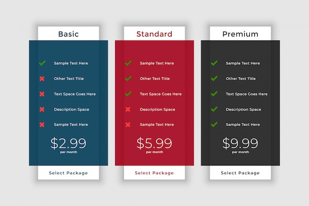 Pricing table template for website and application Free Vector