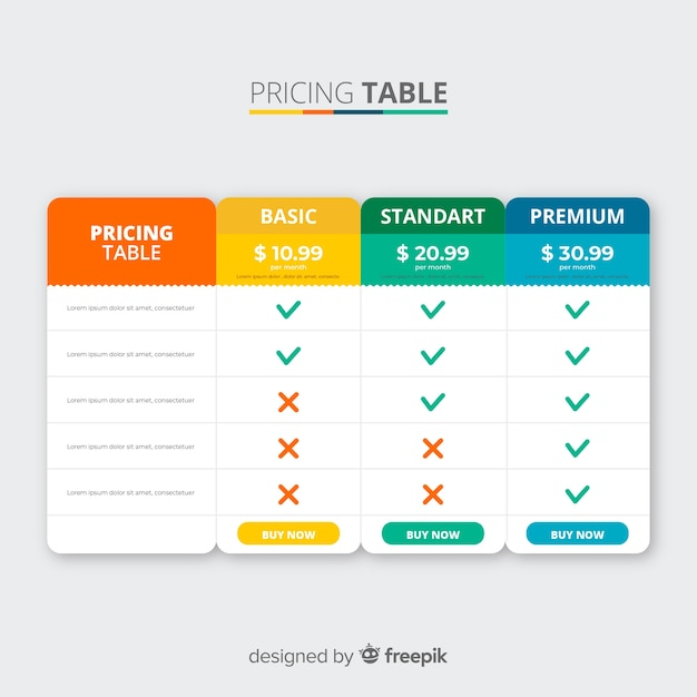 Pricing table Free Vector