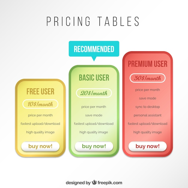 Pricing tables Free Vector