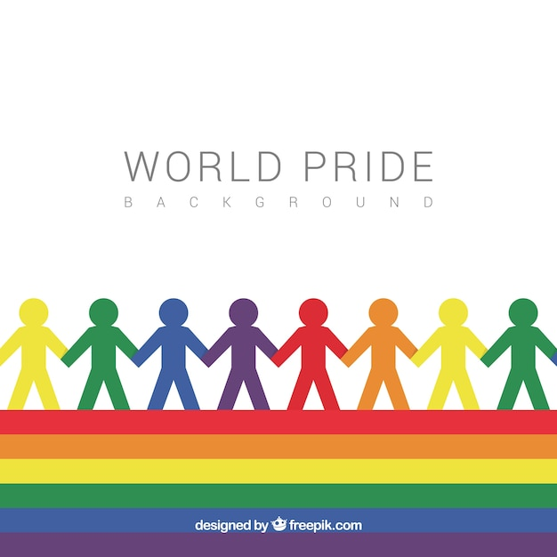 Pride day background with silhouettes of colors Free Vector