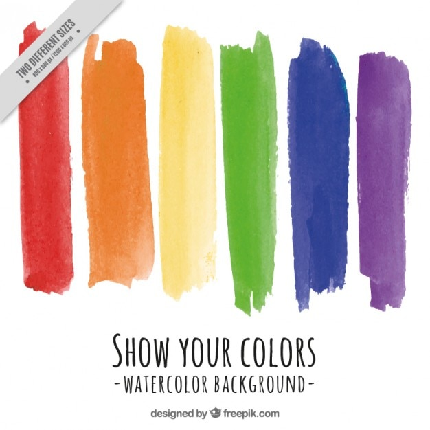 Pride day background with watercolor brush strokes Free Vector