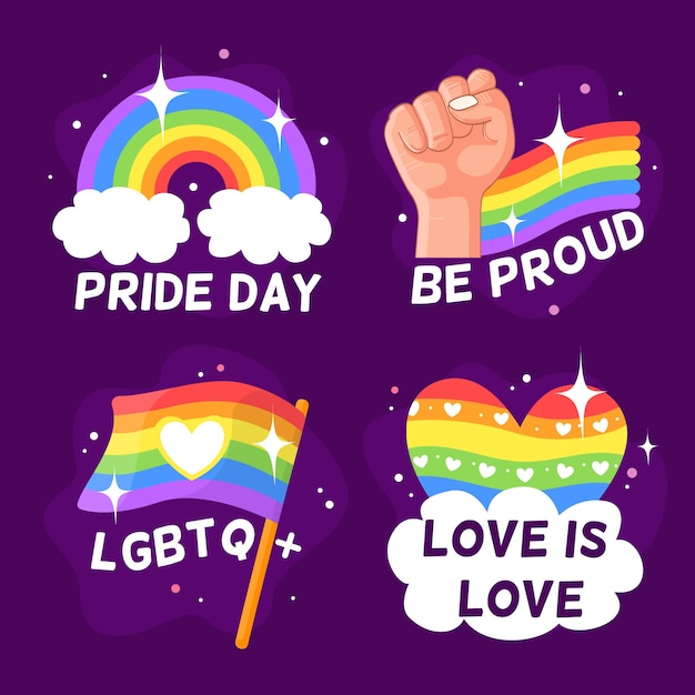 Pride day badges collection Free Vector