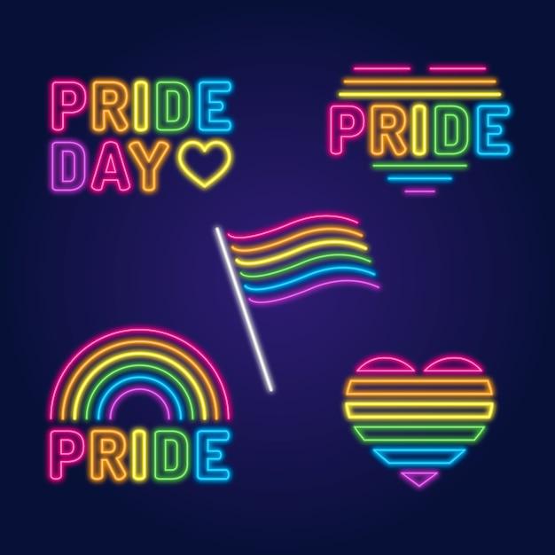 Pride day celebration neon signs Free Vector