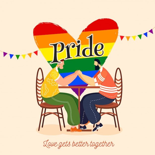 Pride day concept for lgbtq community with gay couple holding hands Premium Vector